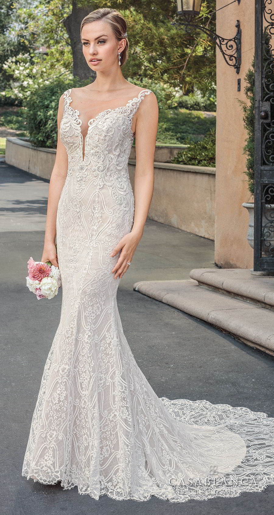 casablanca spring 2018 sleeveless strap deep plunging sweetheart neckline full embellishement elegant fit and flare wedding dress sheer button back medium train (laiken) mv