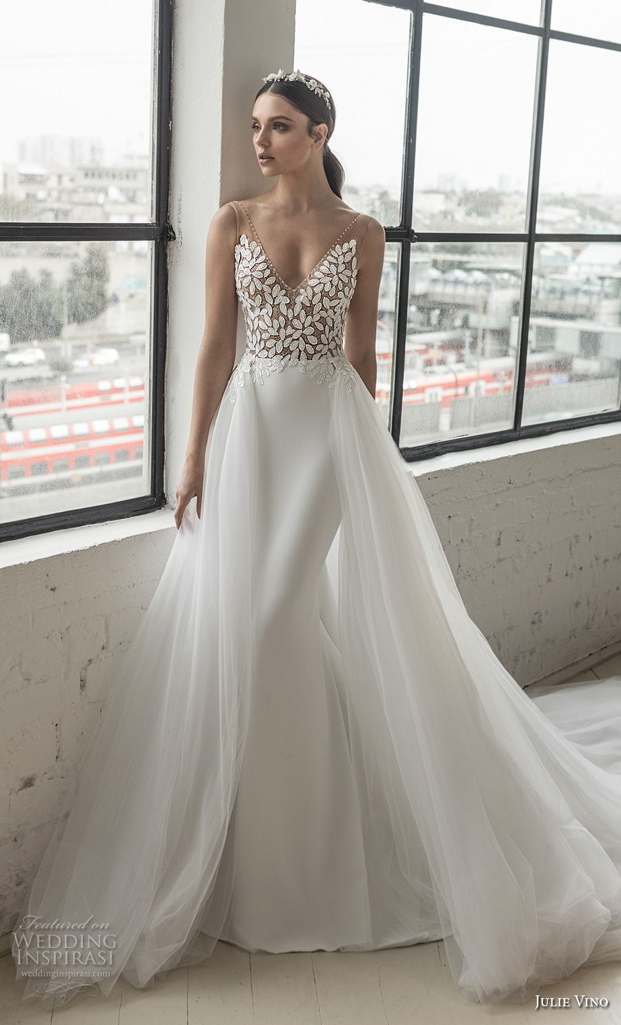 julie vino 2019 romanzo bridal sleeveless v neck heavily embellished bodice romantic elegant fit and flare wedding dress a line overskirt low scoop back chapel train (3) mv