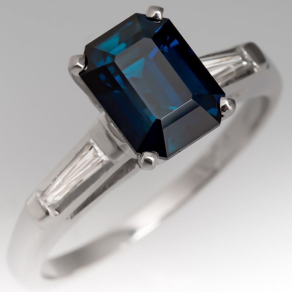 sapphire emerald cut engagement ring
