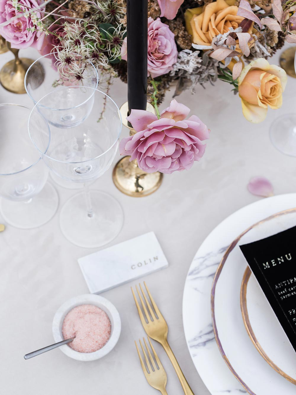 chic modern wedding tablescape