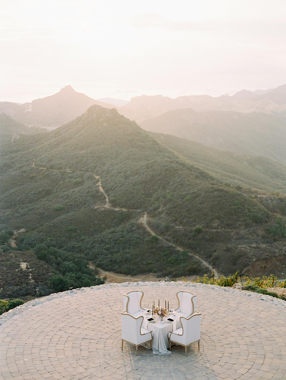helipad wedding tablescape malibu