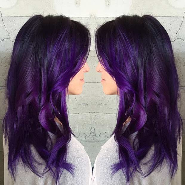 Dark Purple Hair Color Idea for Long Hair
