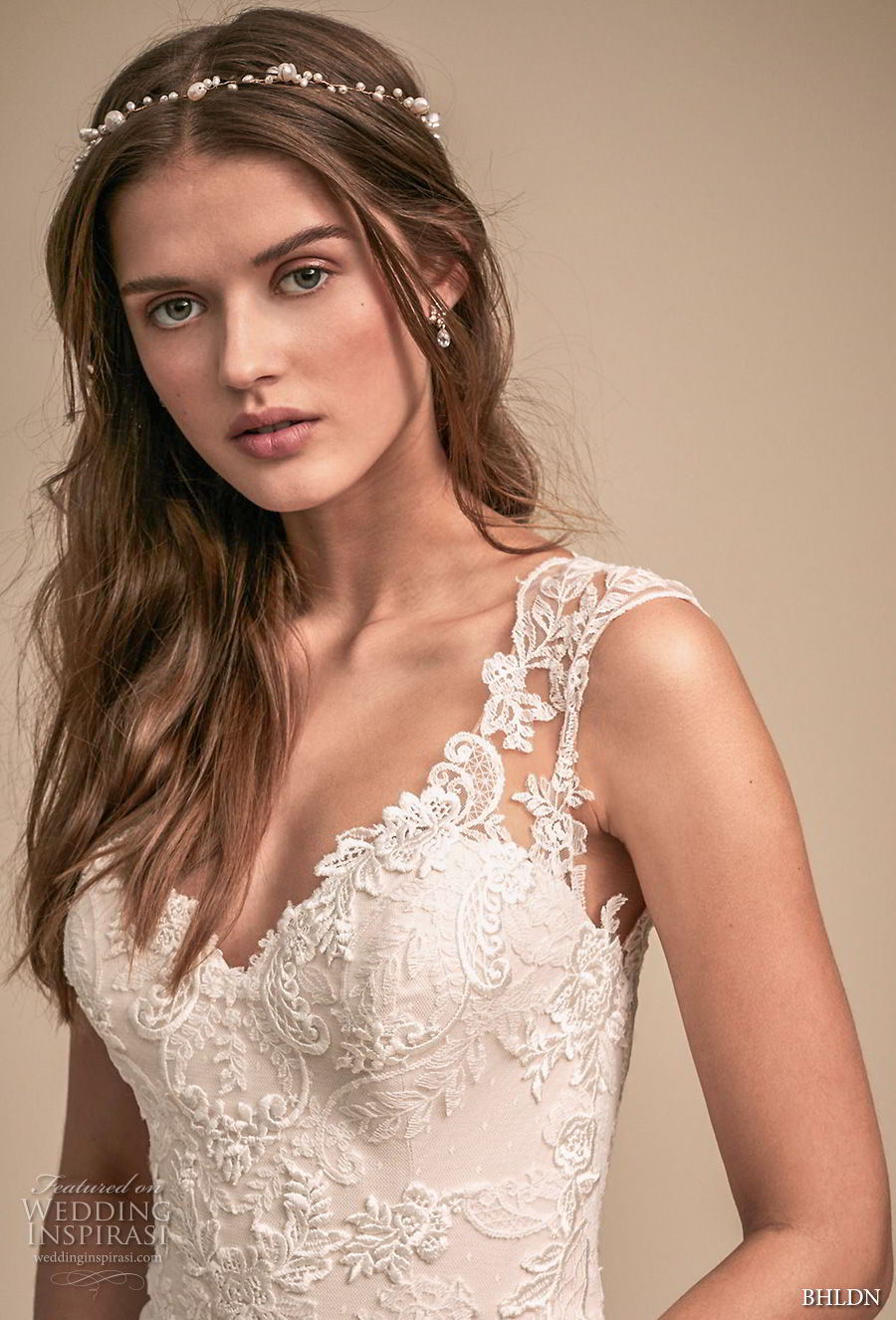 bhldn 2018 whispers bridal cap sleeves v neck full embellishment romantic elegant mermaid wedding dress sheer button back sweep train (5) zv