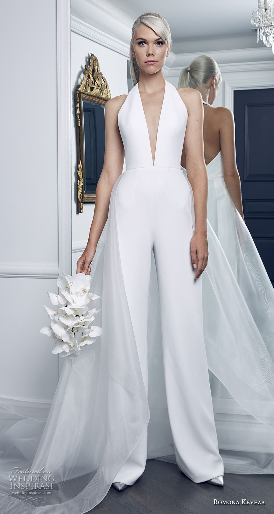 romona keveza fall 2018 bridal sleeveless halter deep v neck simple clean modern jumper wedding dress chapel train (9) mv