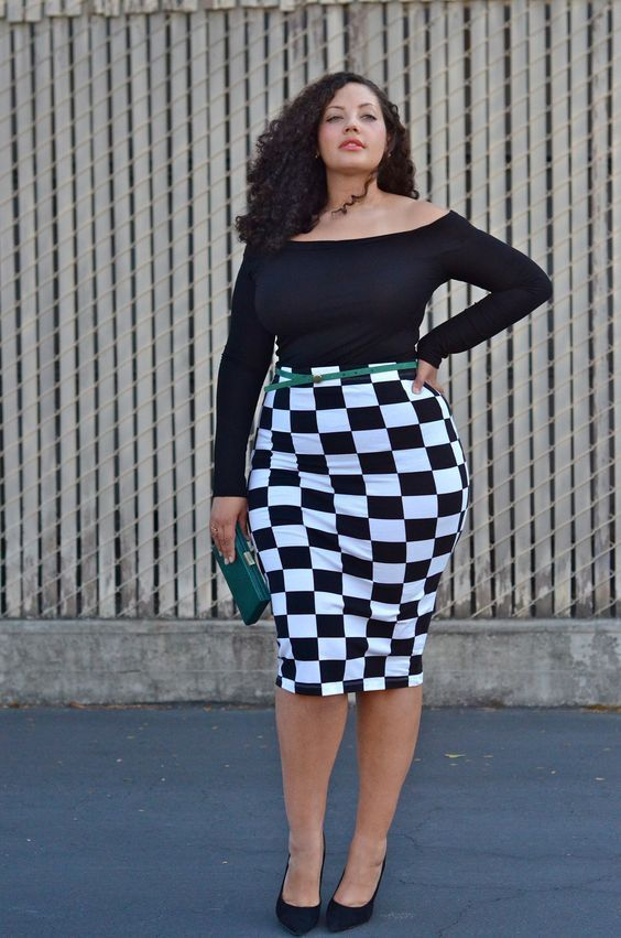 a black off the shoulder top, a checked pencil knee skirt, black shoes and a clutch
