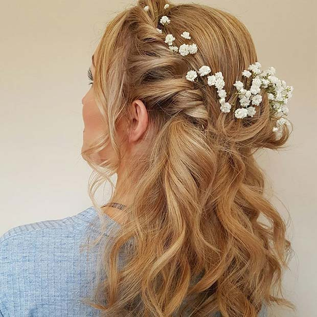 Floral Twisted Half Up Hair with Waves Wedding Hair Idea