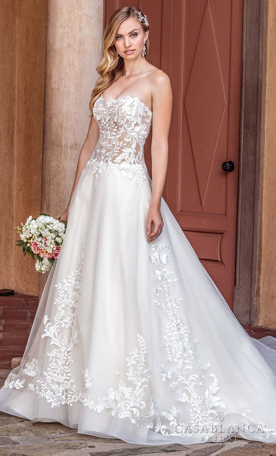 casablanca spring 2018 strapless sweetheart neckline heavily embellished bodice romantic a line wedding dress chapel train (tegan) mv