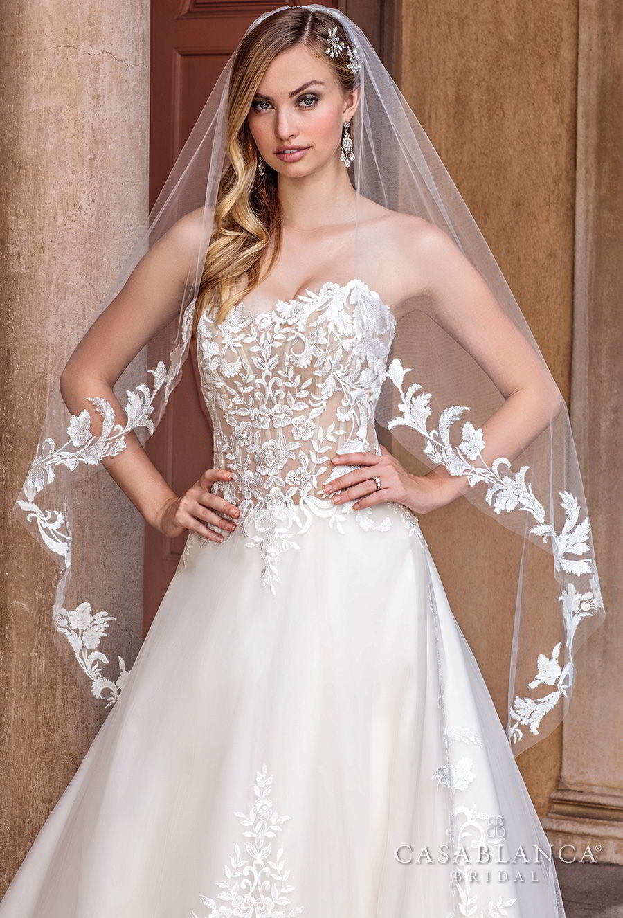 casablanca spring 2018 strapless sweetheart neckline heavily embellished bodice romantic a line wedding dress chapel train (tegan) zv