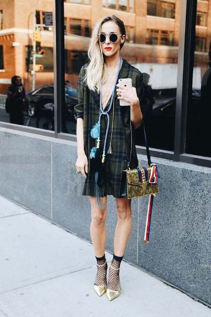 With checked dress, metallic shoes and printed bag