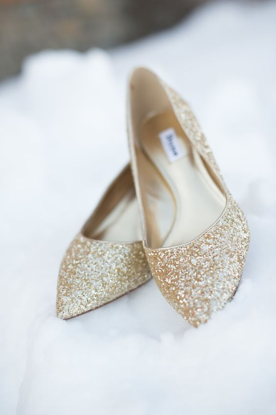 shiny gold glitter flats are all you need to sparkle at your wedding