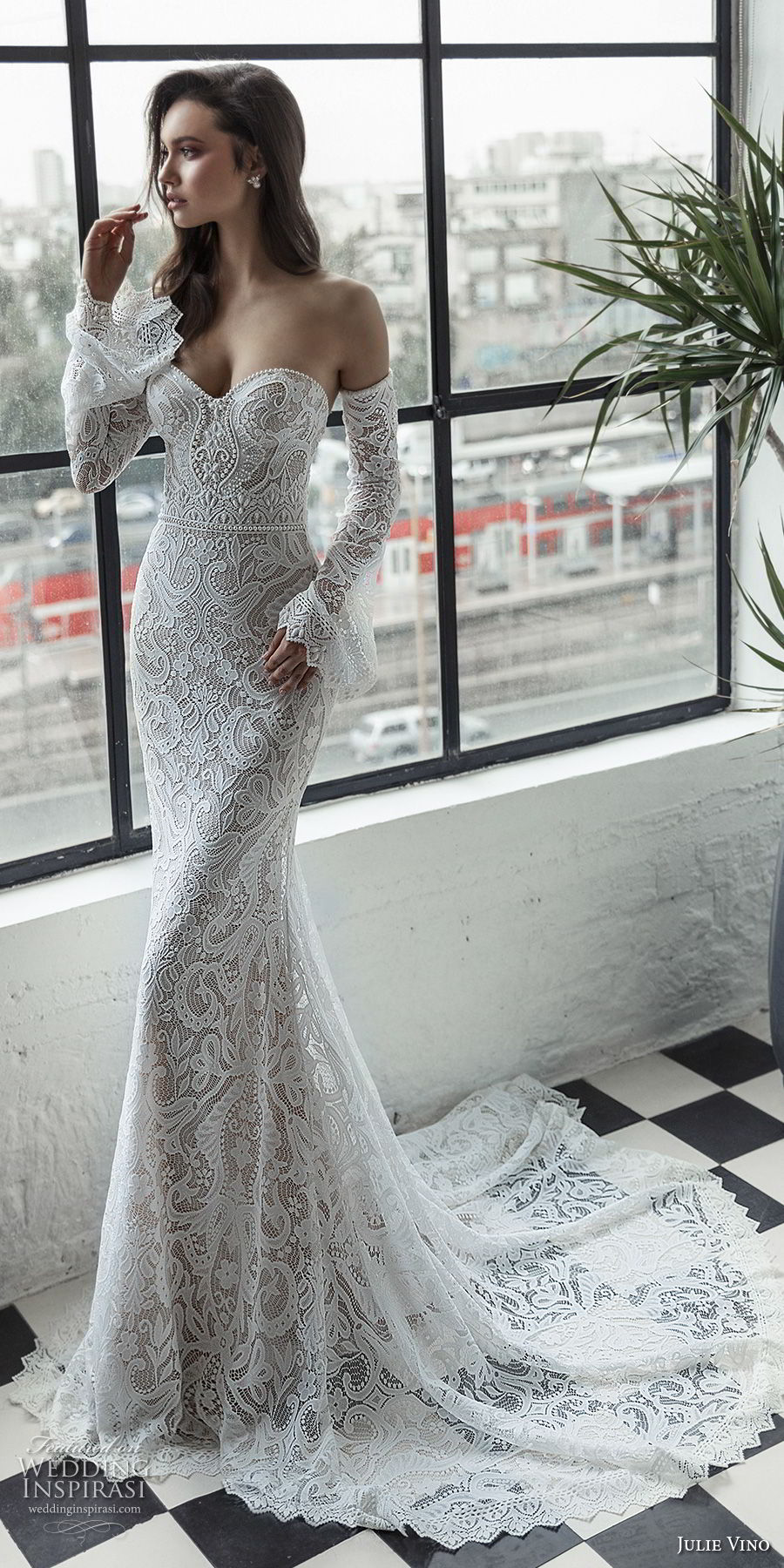 julie vino 2019 romanzo bridal long bell sleeves strapless sweetheart neckline full embellishment sexy elegant fit and flare wedding dress chapel train (5) mv