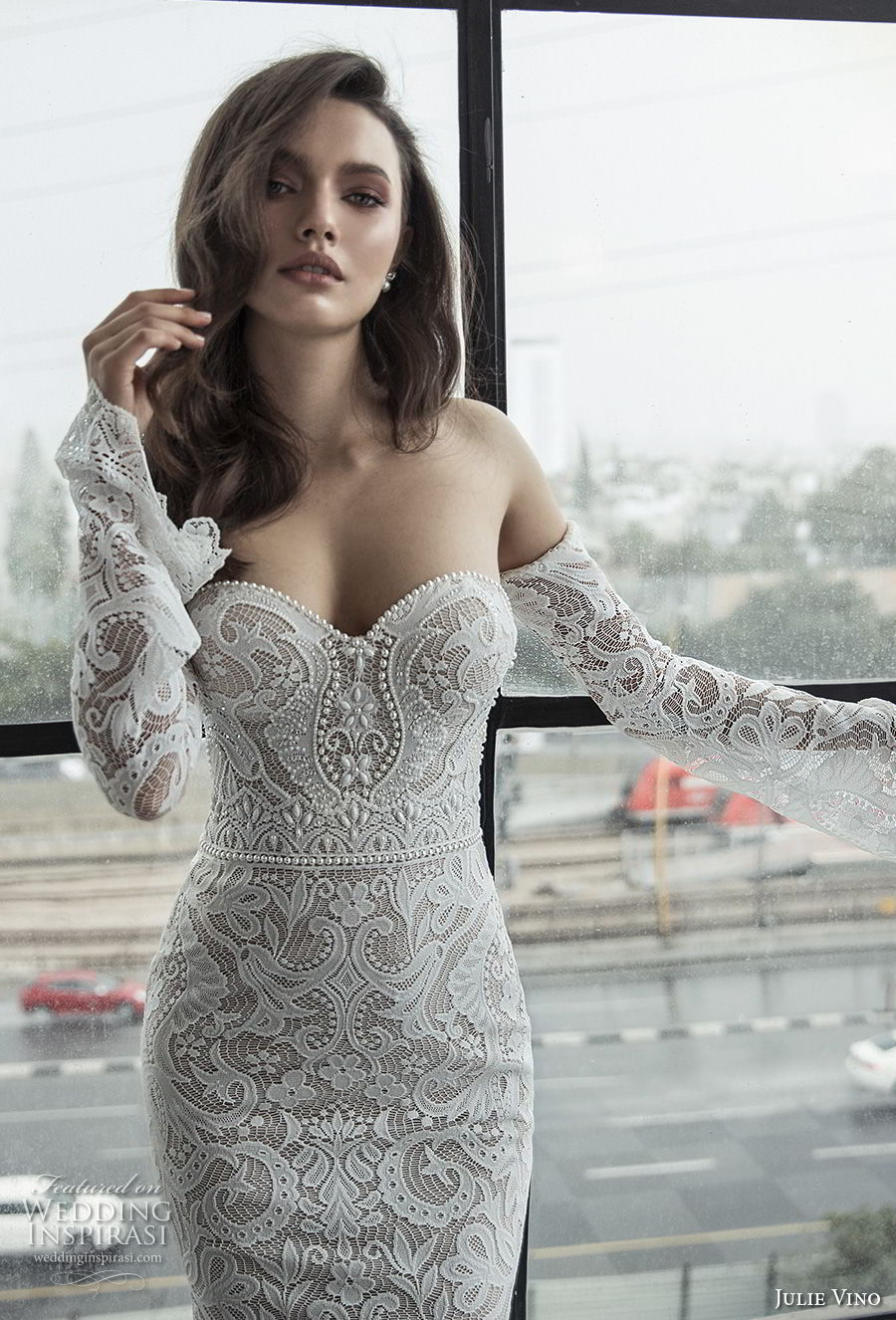 julie vino 2019 romanzo bridal long bell sleeves strapless sweetheart neckline full embellishment sexy elegant fit and flare wedding dress chapel train (5) zv
