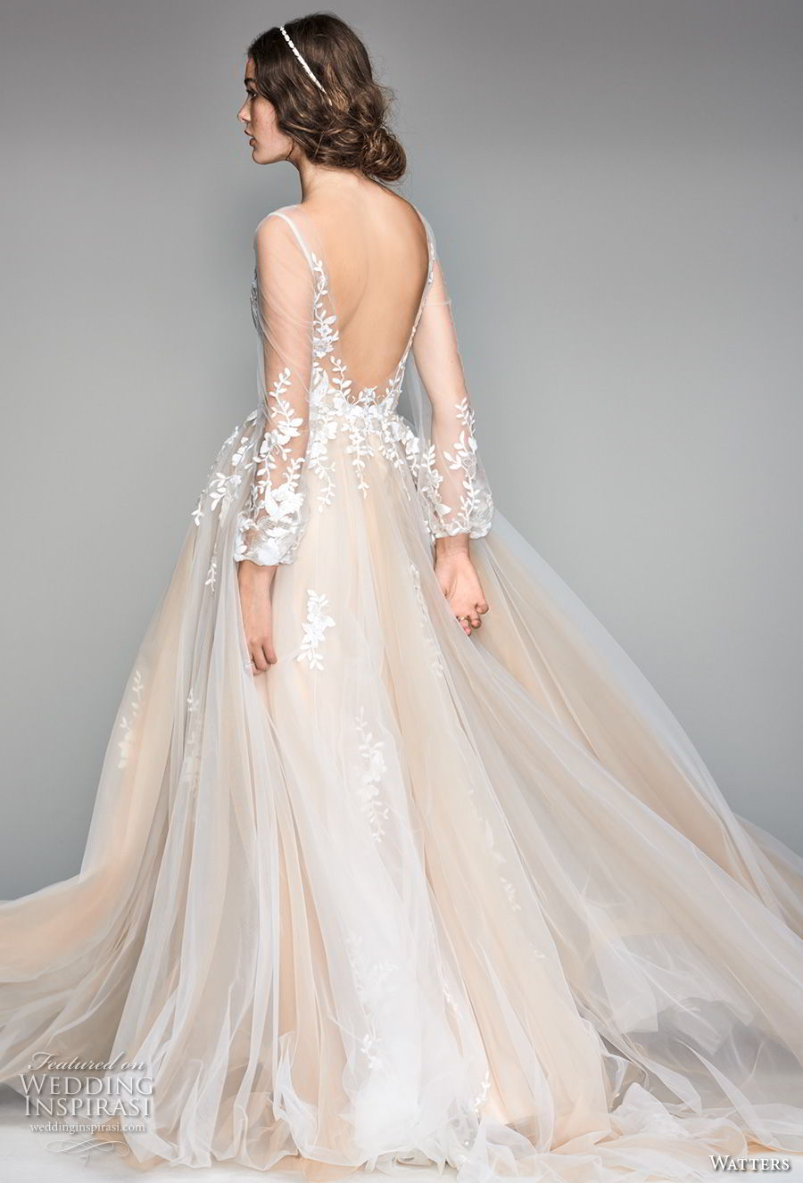 willow by watters spring 2018 long sleeves v neck heavily embellished bodice romantic champagne soft a line wedding dress scoop back sweep train (6) bv