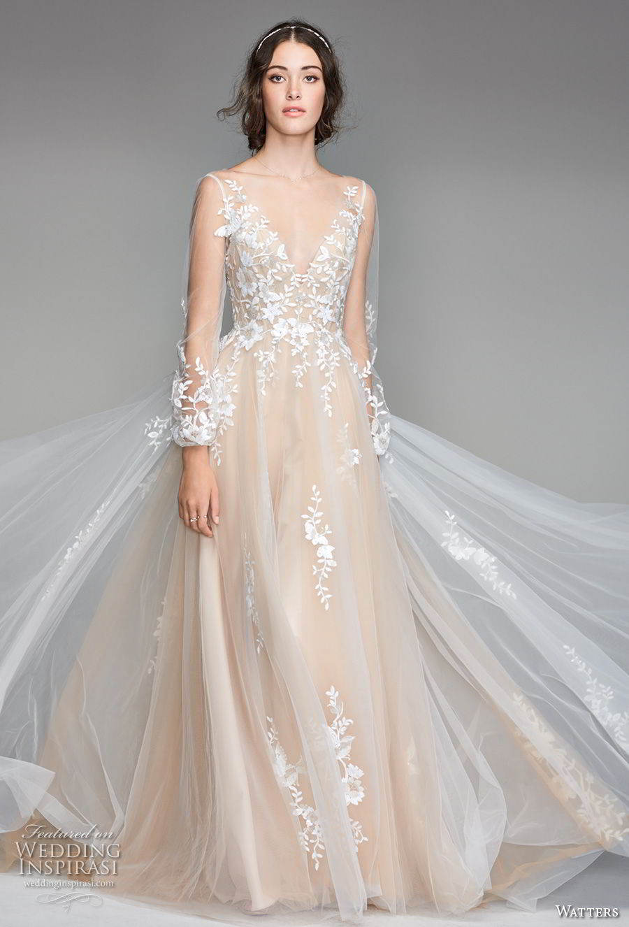 willow by watters spring 2018 long sleeves v neck heavily embellished bodice romantic champagne soft a line wedding dress scoop back sweep train (6) mv