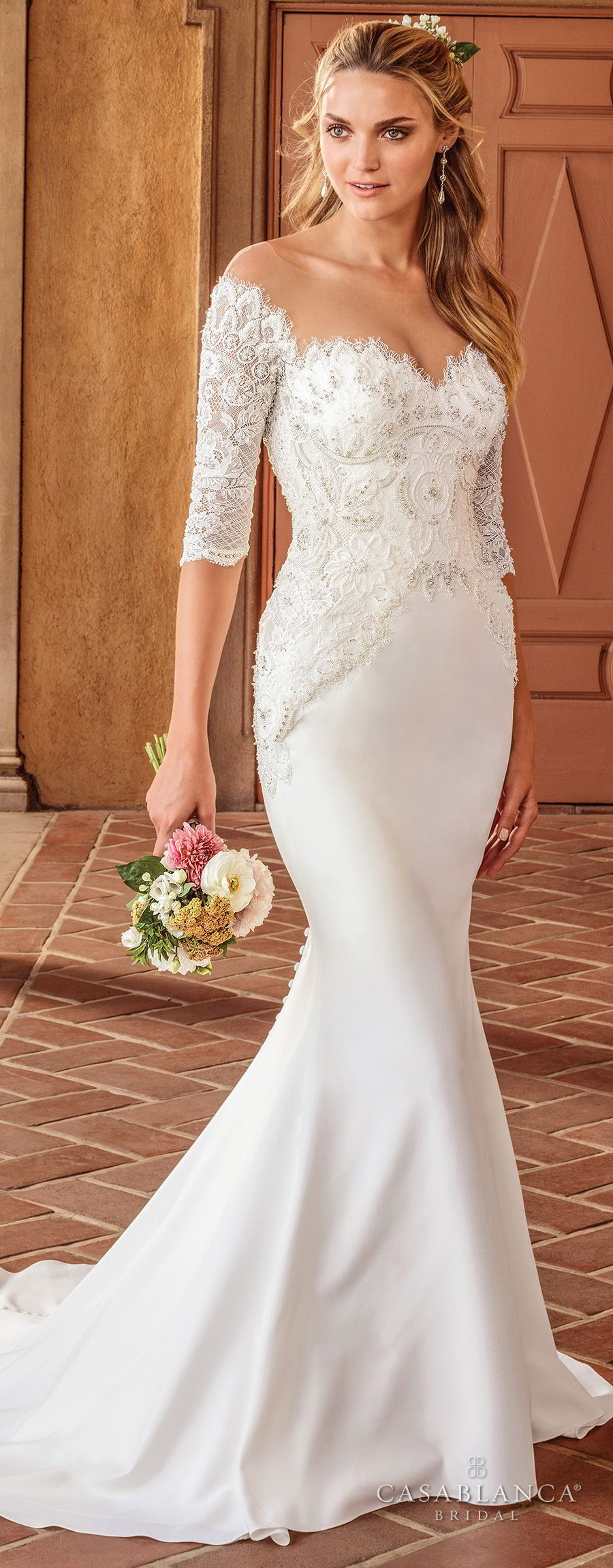 casablanca spring 2018 half sleeves illusion bateau sweetheart neckline heavily embellished bodice elegant fit and flare wedding dress sheer button back sweep train (imogen) mv