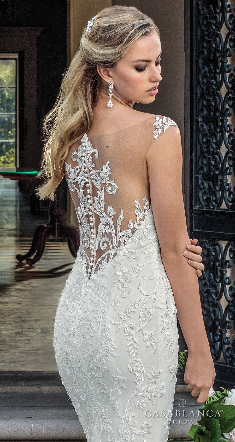 casablanca spring 2018 sleeveless strap plunging sweetheart neckline full embellishment elegant fit and flare wedding dress lace button back chapel train (kinsley) zbv