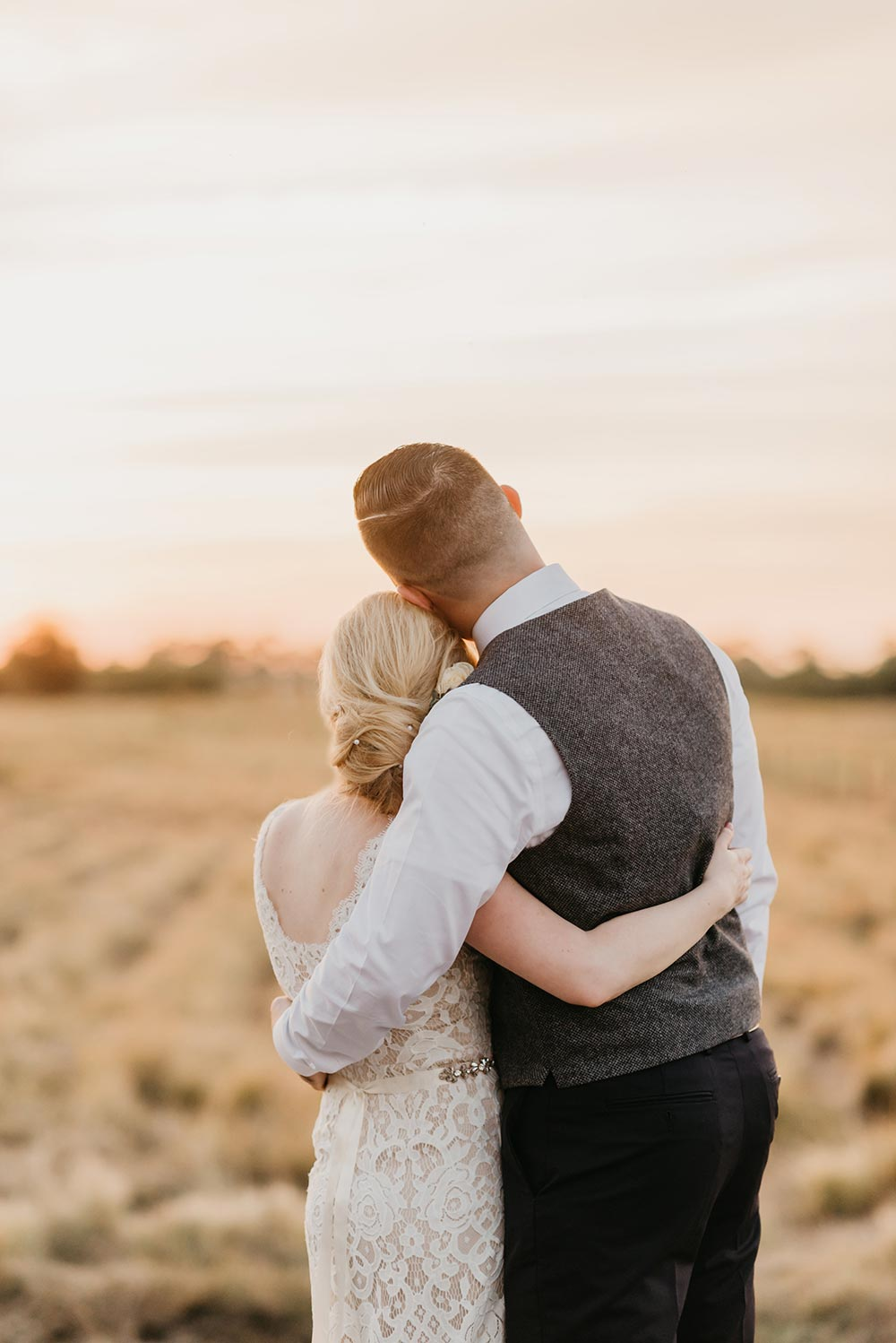 winter wedding at a tree farm sunset portrait session