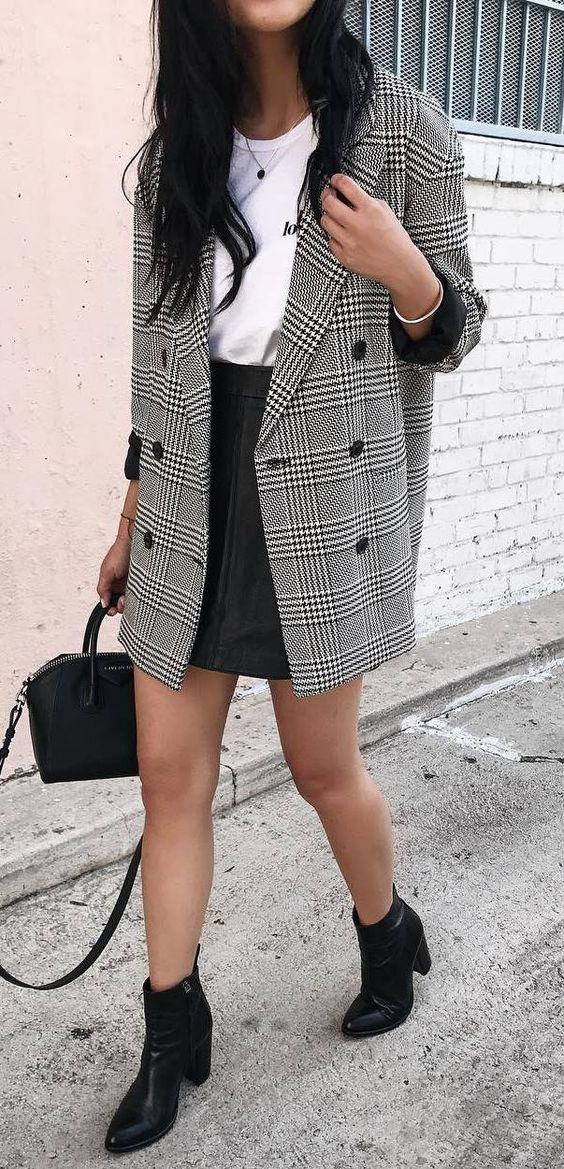 a white tee, a grey plaid blazer, a black leather mini skirt and black leather boots for a sexy look