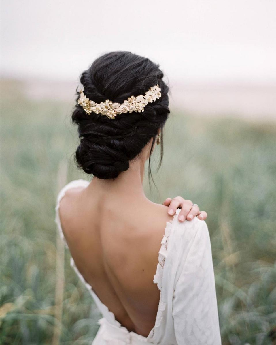 low twisted wedding bun long hair
