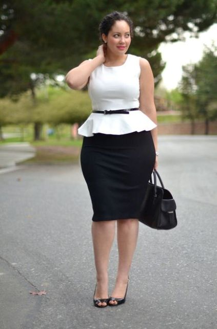 a black pencil skirt, a white sleeveless blouse, black heels and a black belt