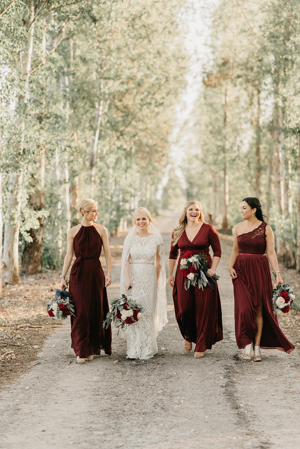 winter wedding mix and match bridesmaid dresses