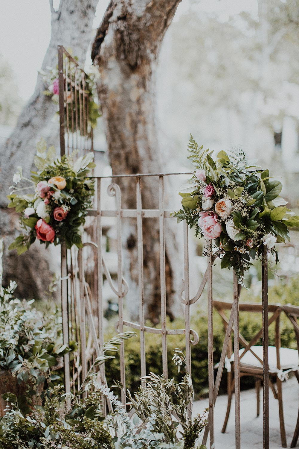 pink wedding flower accents