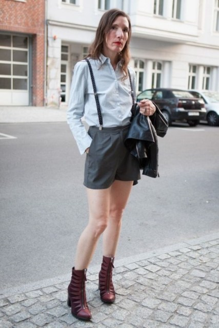 With button down shirt, leather jacket and marsala boots