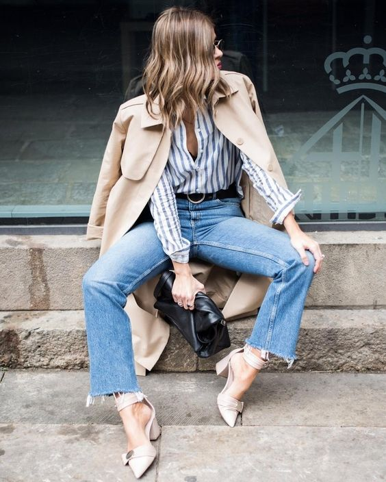 nude strap shoes, blue raw edge jeans, a striped shirt and a tan trend show off all the trends