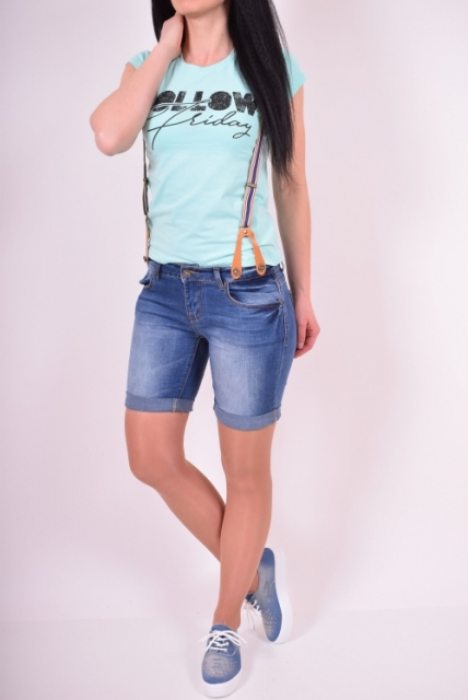 With t-shirt and white and blue sneakers