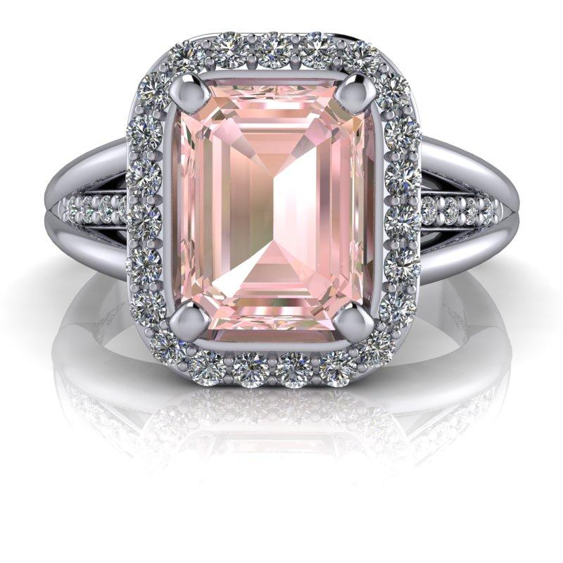 pink emerald cut engagement ring with diamond halo