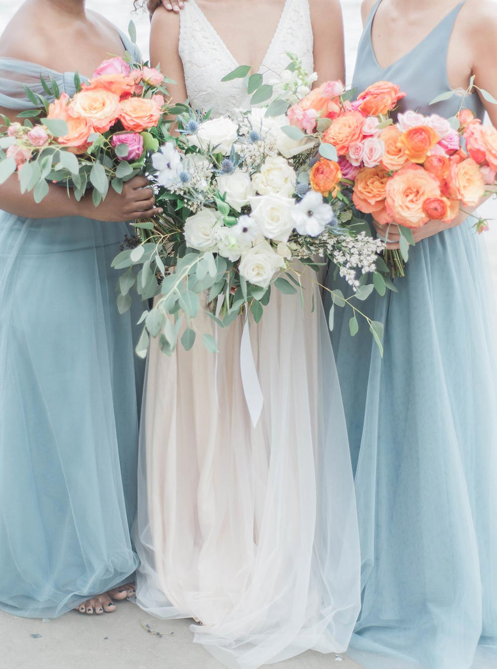 dusty blue maxi bridesmaid dresses coastal wedding