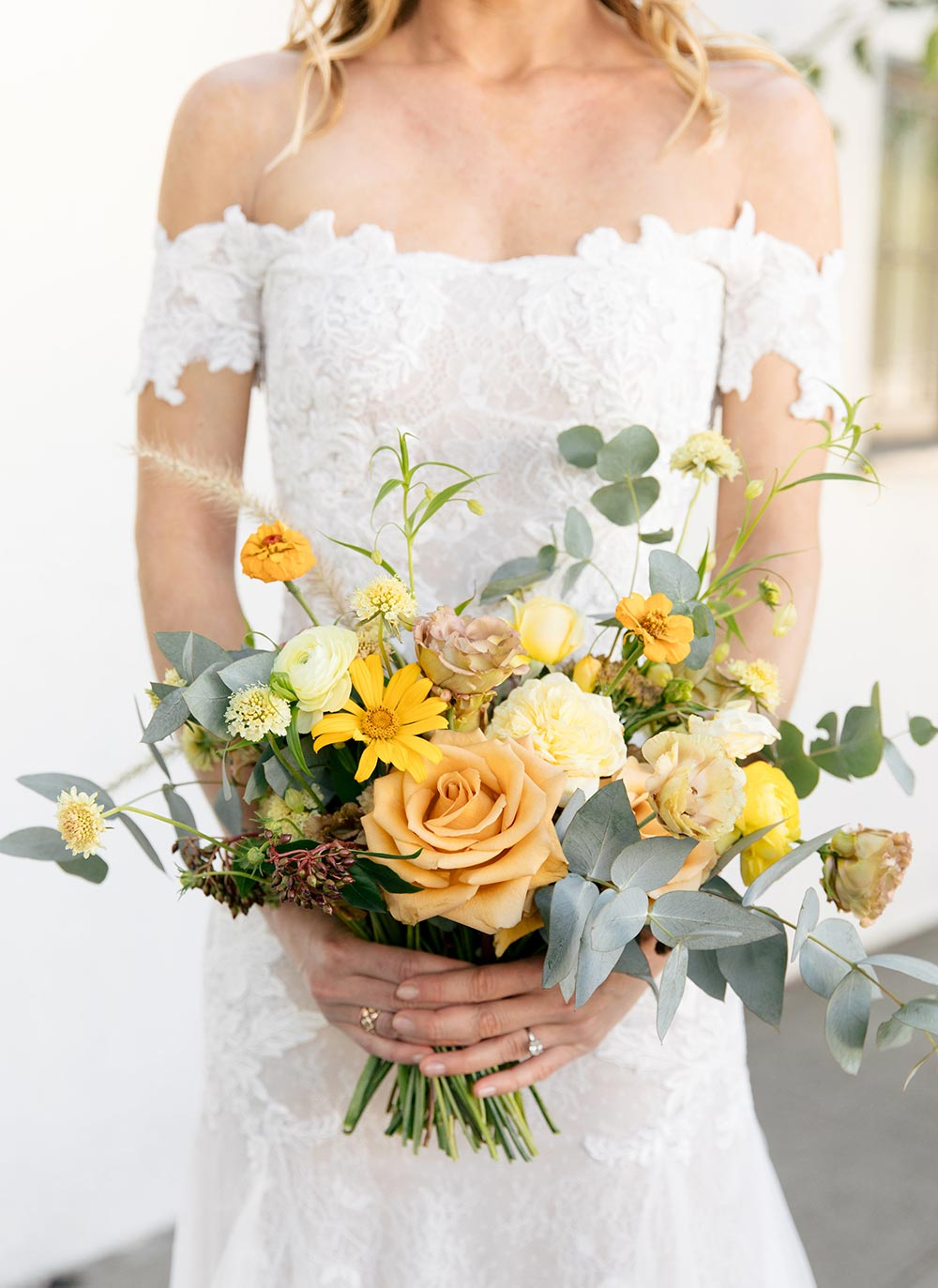 mixed shades of yellow bridal bouquet
