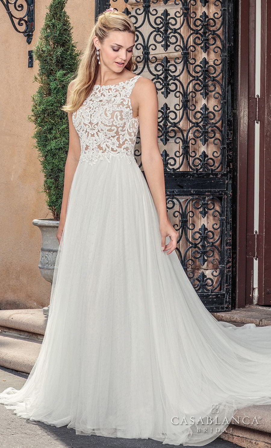 casablanca spring 2018 sleeveless bateau neck heavily embellished bodice romantic soft a line wedding dress covered lace back medium train (della) mv