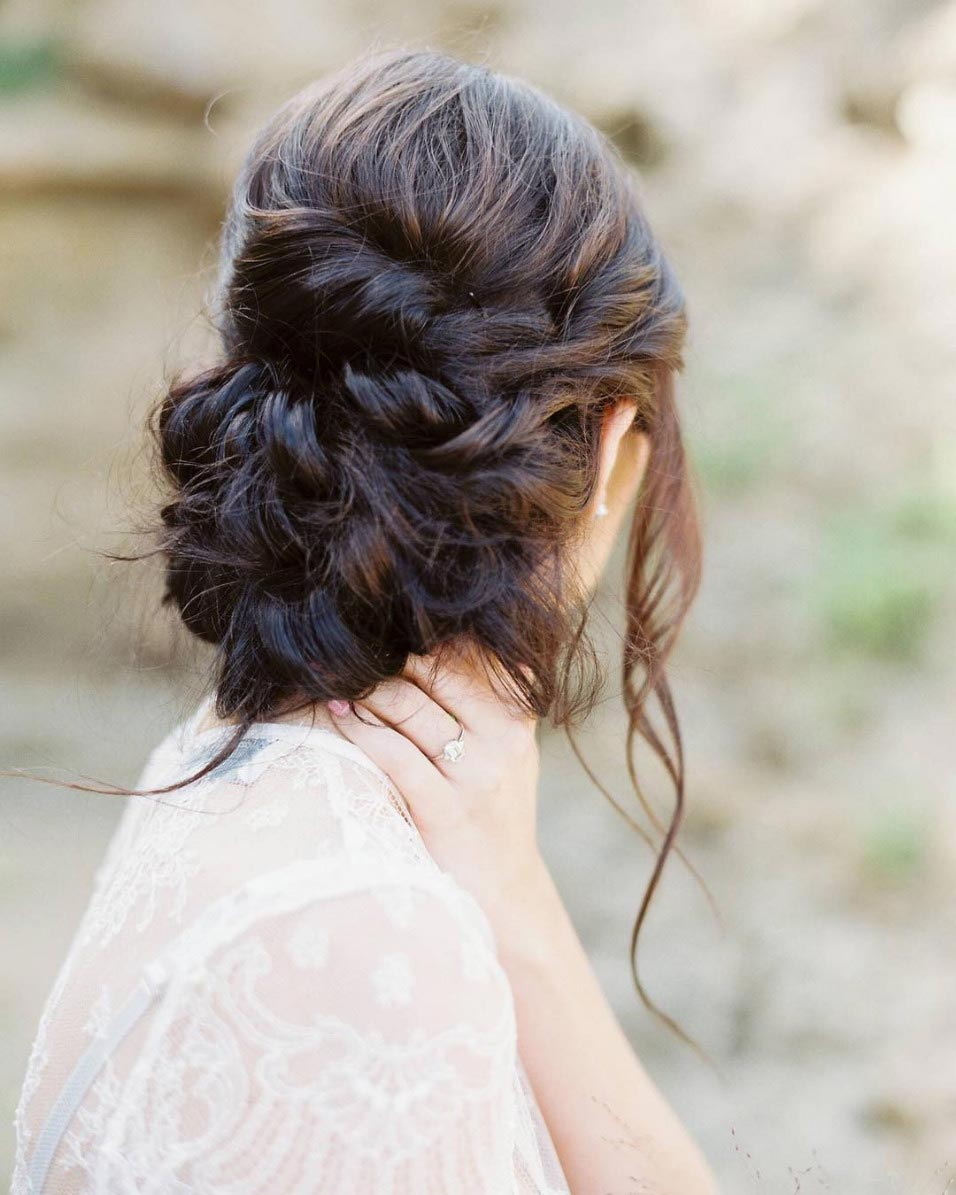 loose braided wedding updo