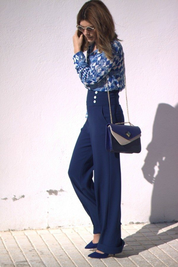 Blue-Palazzo-pants 28 Modern ways to Wear Palazzo Pants with other Outfits