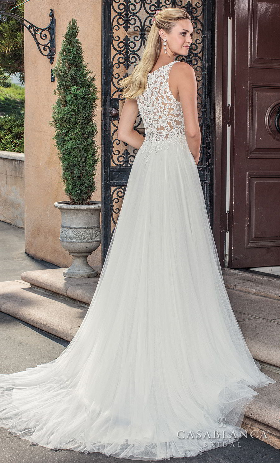 casablanca spring 2018 sleeveless bateau neck heavily embellished bodice romantic soft a line wedding dress covered lace back medium train (della) bv