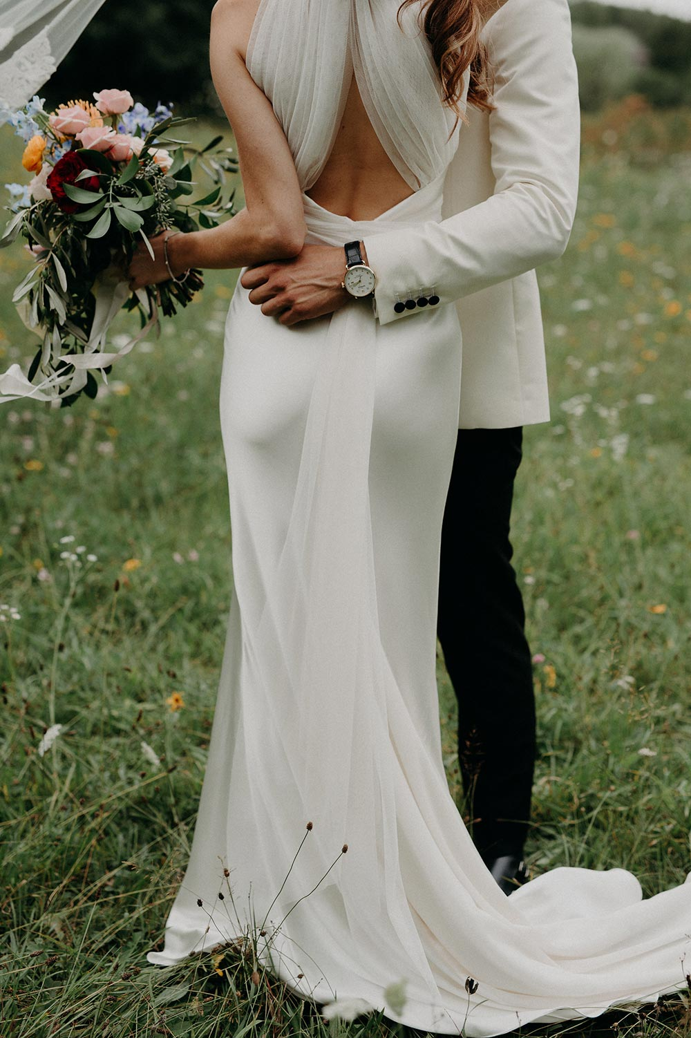 modern silk wedding dress