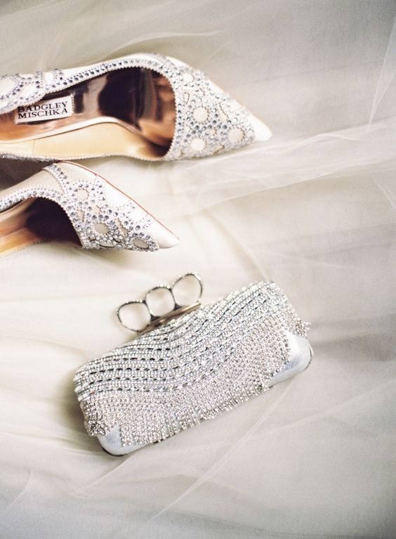 embellished shoes and a super sparkly embellished wedding clutch to bling