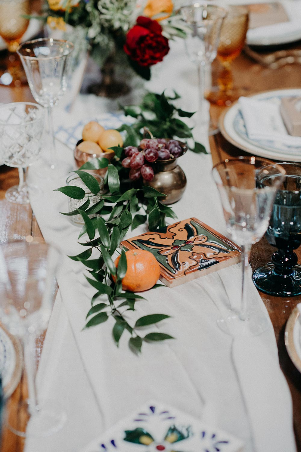 mediterranean inspired table runner