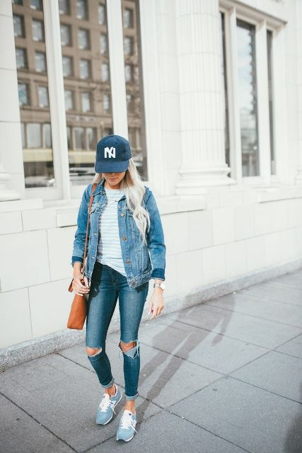 With shirt, distressed jeans, light blue sneakers, denim jacket and brown bag