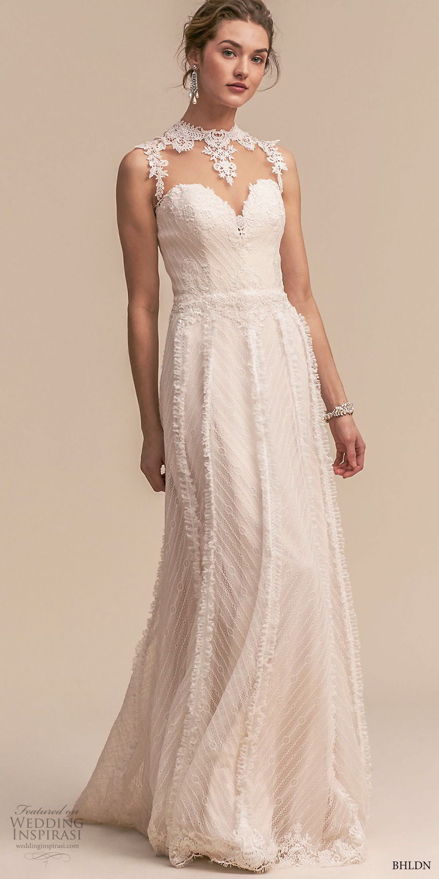 bhldn 2018 whispers bridal sleeveless illusion jewel sweetheart neckline full embellishment romantic a line wedding dress sheer button back sweep train (2) mv