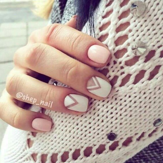 blush nails plus two geometric ones with a negative space for a casual feel