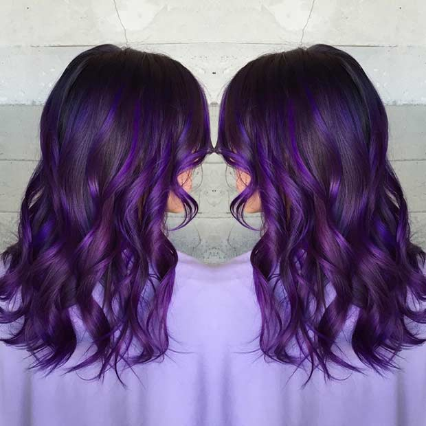 Dark Brown Hair with Dark Purple Highlights