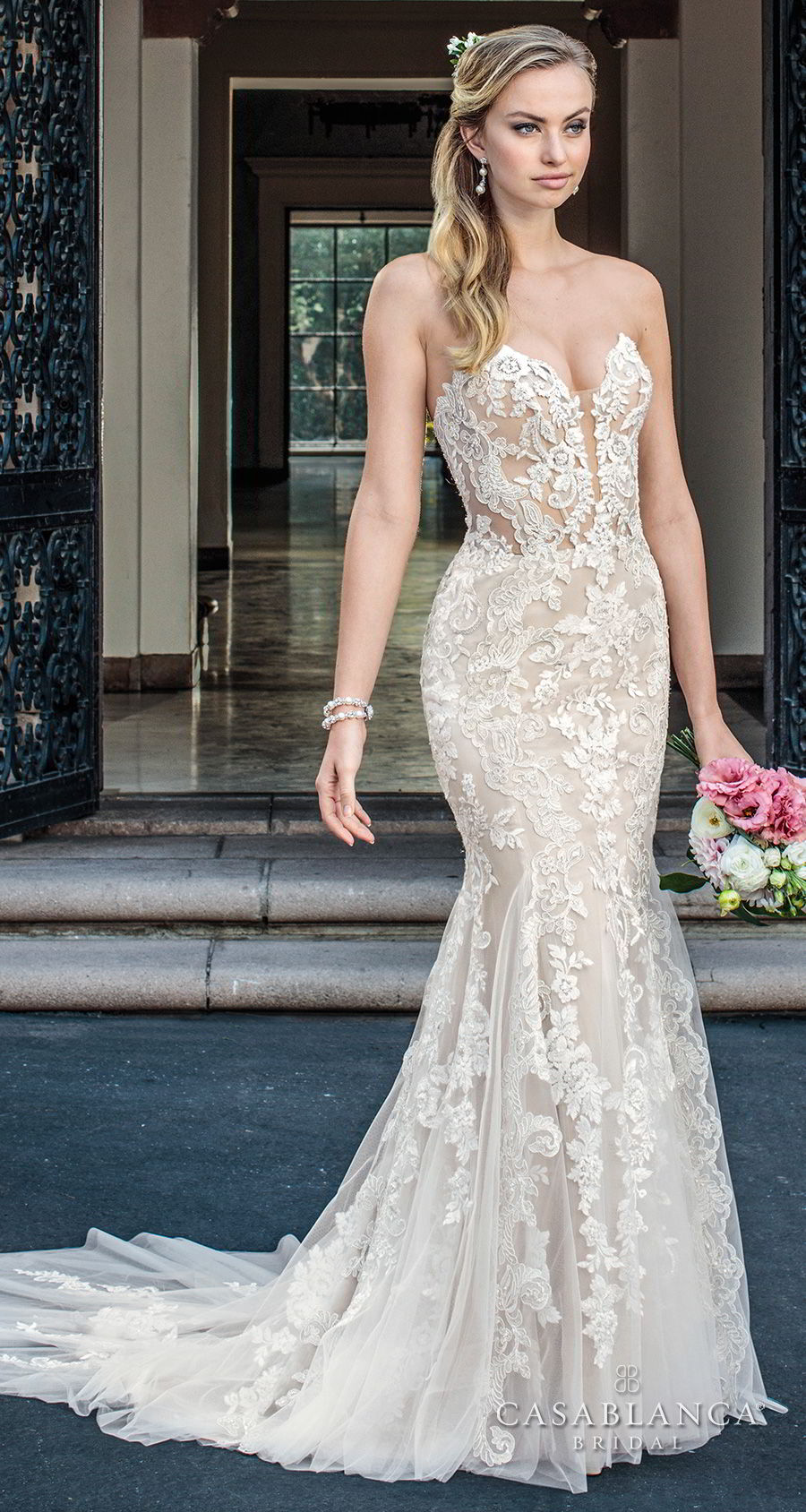 casablanca spring 2018 strapless sweetheart neckline full embellishment elegant fit and flare wedding dress medium train (maisie) mv