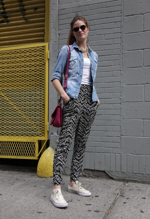 Black-and-white-600x876 Printed Pant Outfit-18 Ideas What to Wear With Printed Pants