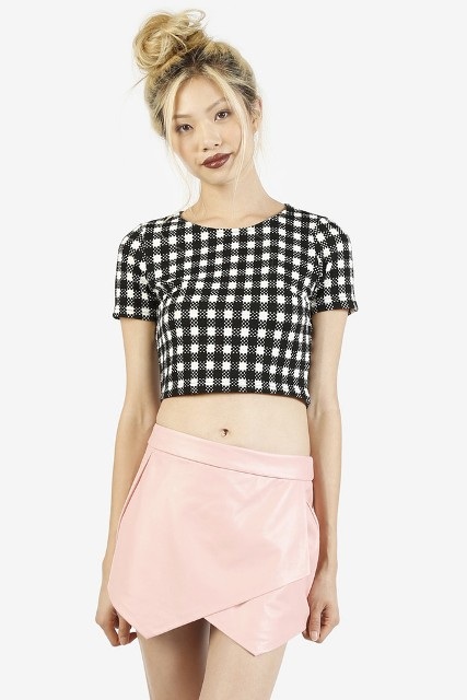 With pale pink leather skirt