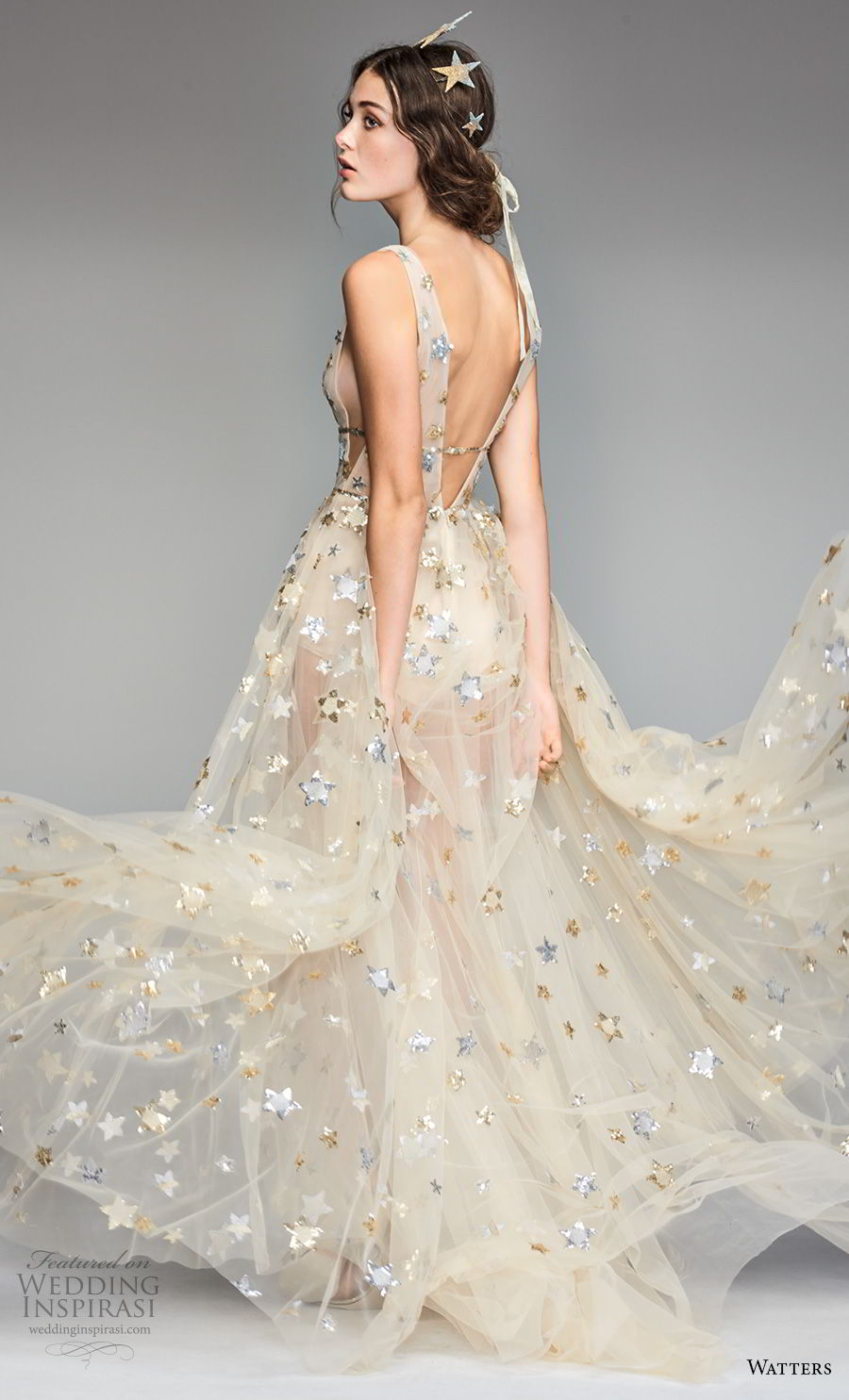 willow by watters spring 2018 sleeveless deep v neck full embellishment romantic gold soft a line wedding dress low v back sweep train (5) bv