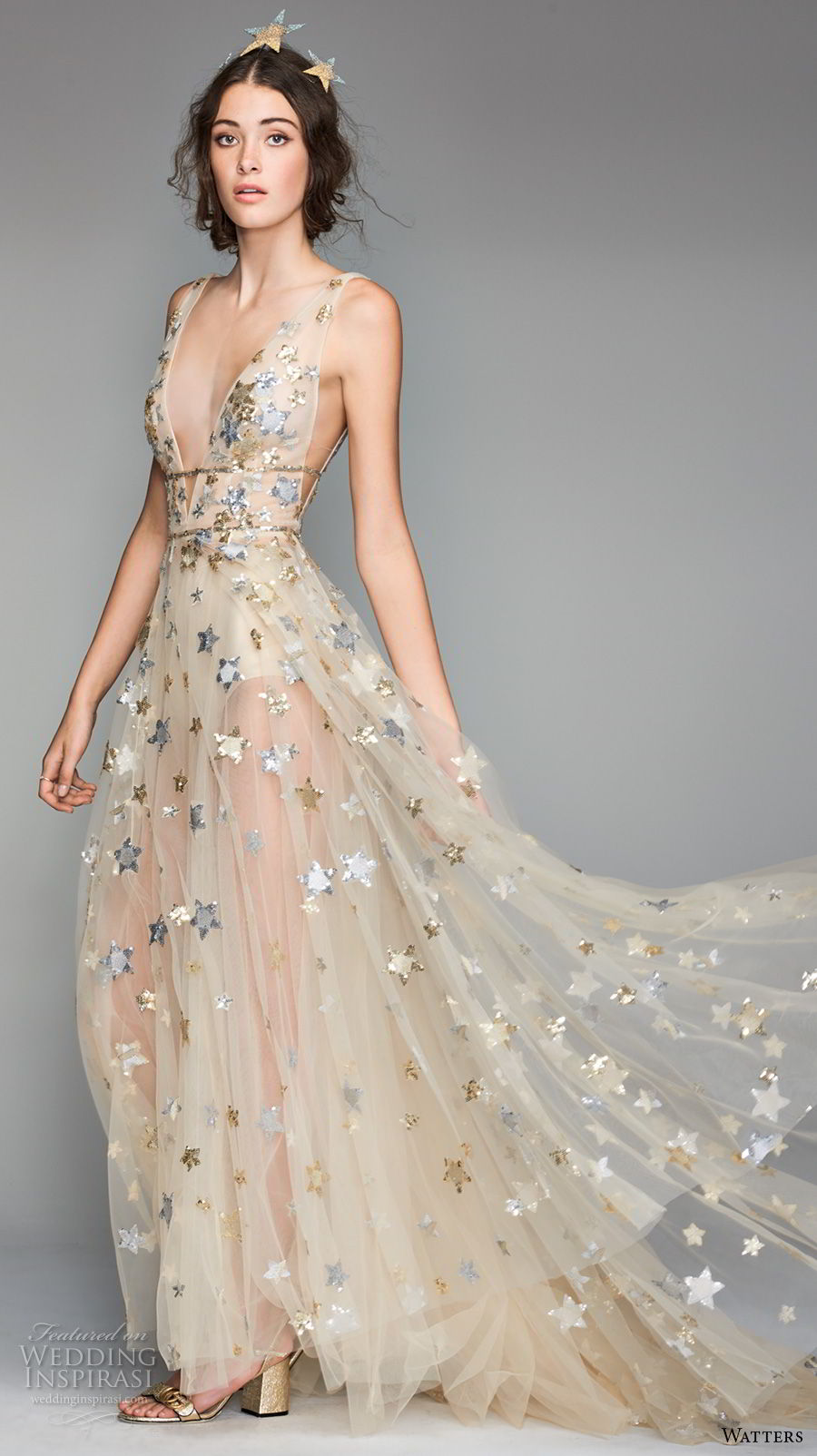 willow by watters spring 2018 sleeveless deep v neck full embellishment romantic gold soft a line wedding dress low v back sweep train (5) mv