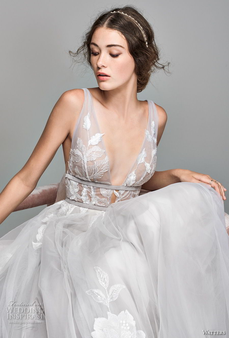 willow by watters spring 2018 sleeveless deep v neck heavily embellished bodice romantic soft a line wedding dress v back sweep train (1) zv