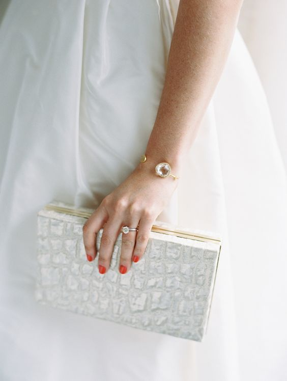 a modern textural faux leather in white and gold detailing for a minimalist feel